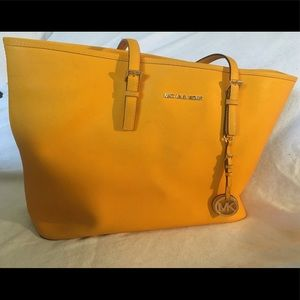 Michael Kors yellow/orange multi-pocket tote